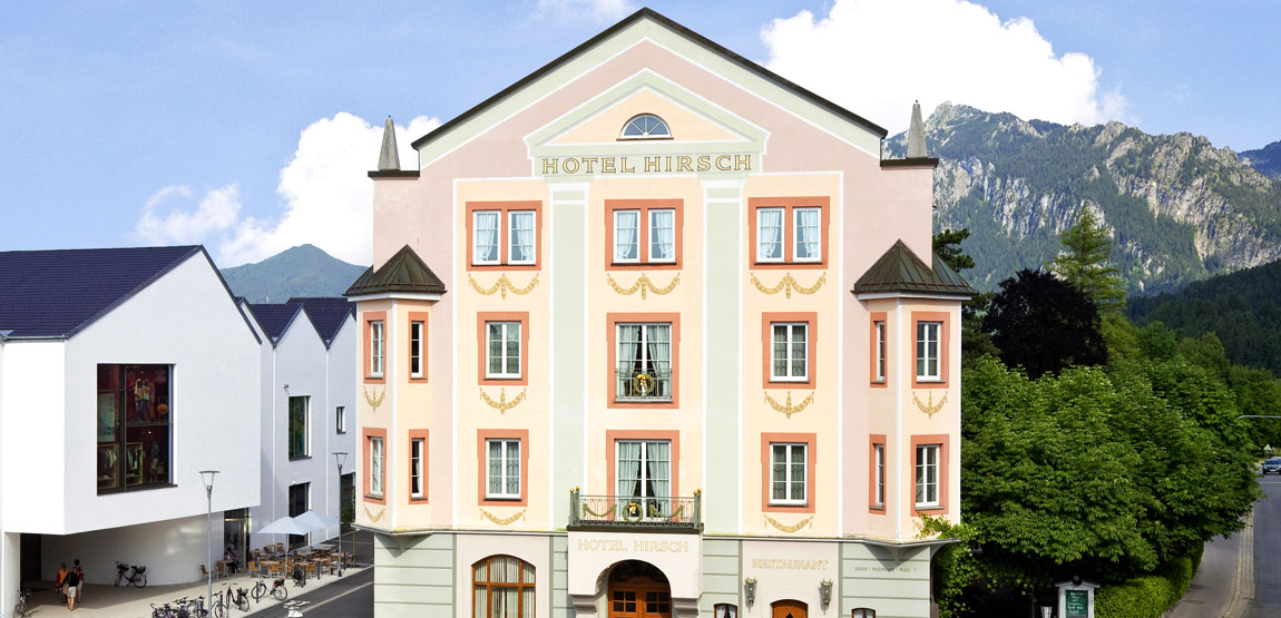 The Hirsch Hotel in Füssen on the edge of the old town of Füssen