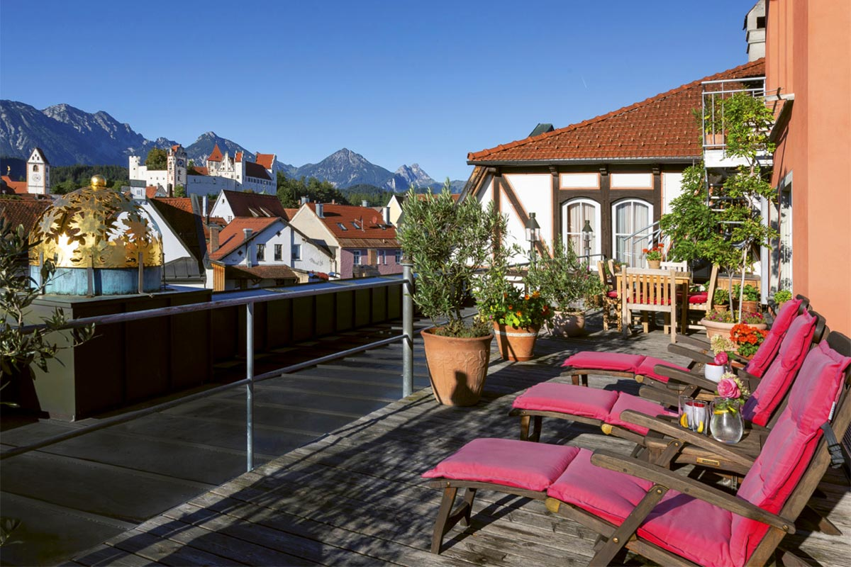 Outlook from the roof terrace to 'Hohes Schloss' castle and Füssen