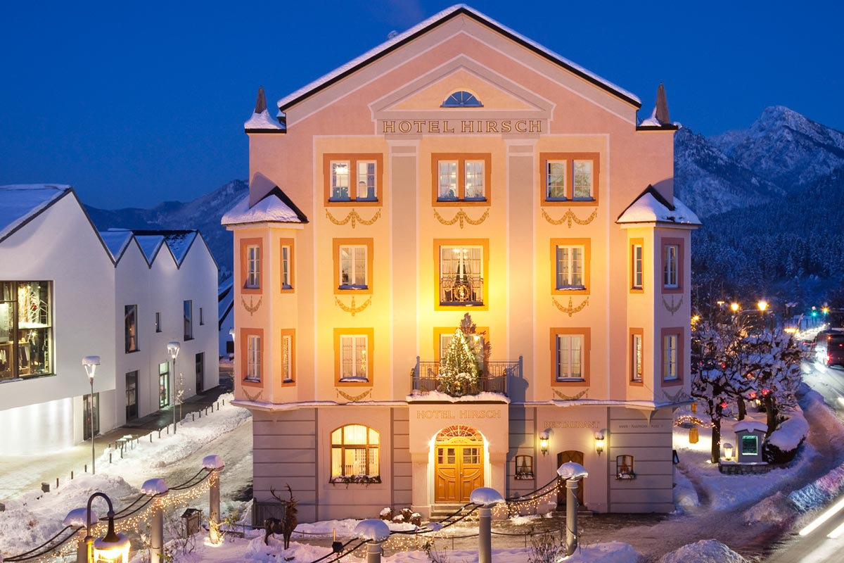 The Hirsch Hotel in Füssen in winter