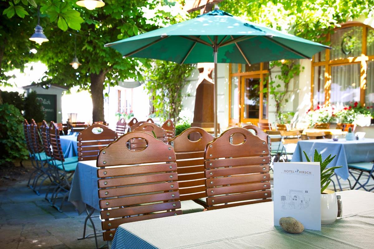 traditional bavarian beer garden in füssen