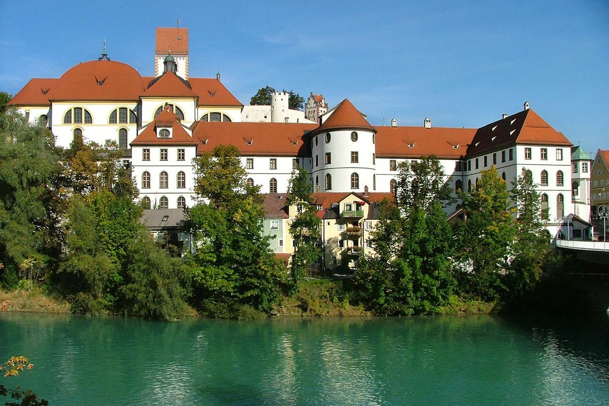 St. Mang monastery in Füssen overlooking the banks of river 'Lech'