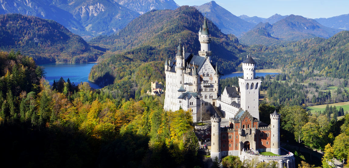 The royal castles with Neuschwanstein castle and Hohenschwangau castle near Füssen