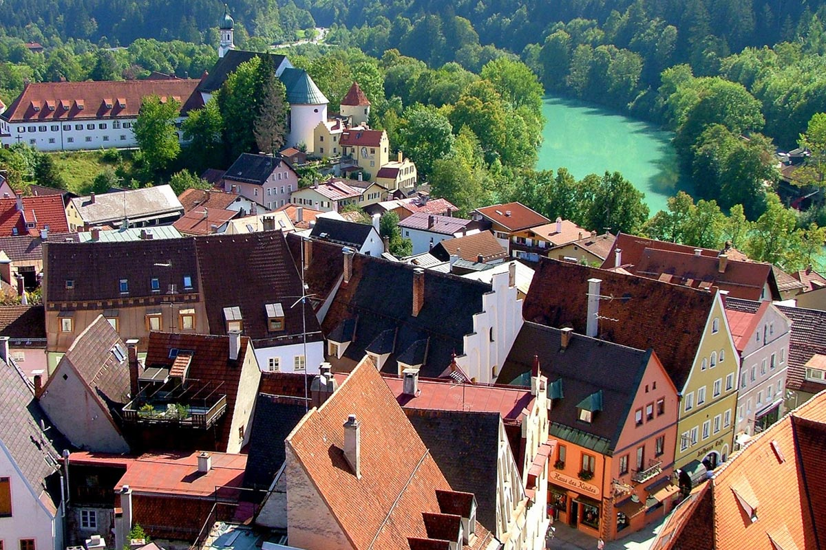 The town of Füssen with its picturesque old town