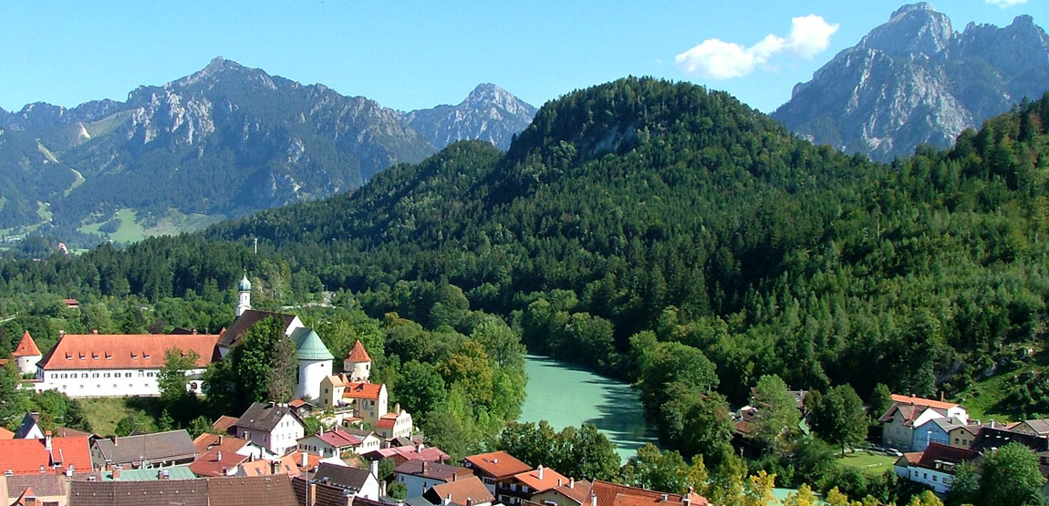 Surroundings of Füssen on the edge of Algovian Alps and Ammergau Alps